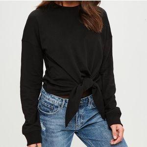 Missguided Black Knot Tie Sweatshirt